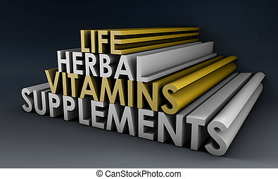 Herbal Supplements and Vitamins for Life in 3d