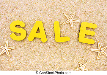 Vacation Sale - The word sale sitting on a beach with...