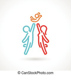 Happy Family Symbol Vector Icon