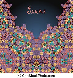 Arabian style ethnic ornamental frame for text. Template for menu, greeting card, invitation or cover.