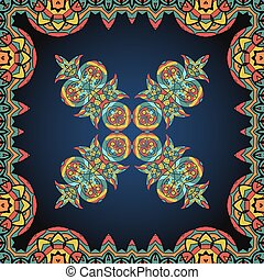 Bright coloured ornate frame with  paisley pattern. Vector illustration