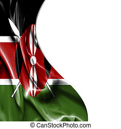 Kenya waving satin flag isolated on white background - Kenya...
