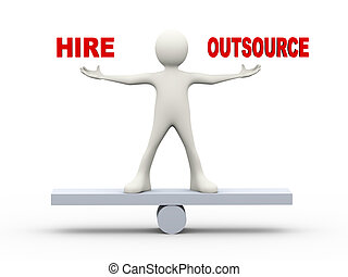 3d man balance hire outsource - 3d illustration of man on...