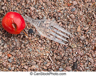 Biodegradable? - Broken plastic fork and a recently fallen...