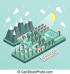 flat 3d isometric ecology green life concept illustration...
