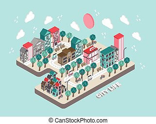flat 3d isometric city life concept illustration