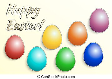 Vector illustration of Eastern eggs collection greeting card...
