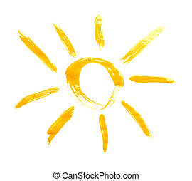 Sun drawn with the oil paint isolated over the white...