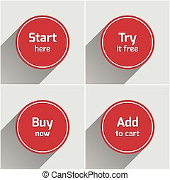 Red round flat web buttons set