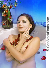 beautiful woman in spa salon