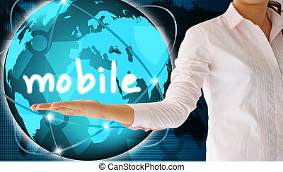 holding mobile  in hand , creative concept