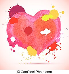 vector watercolor pink heart - Vector watercolor cute pink...