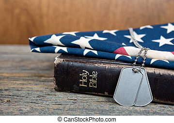 military dog tags on Bible - Military dog tags on Holy Bible...