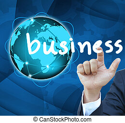 Business man hand Contact Of bussinet button