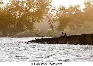 Riverbank view in morning sunrise time