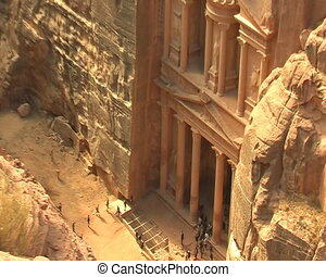 Facade of Treasury in Petra, Jordan View from nearest...