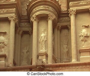 Facade of Treasury in Petra, Jordan. View from nearest...