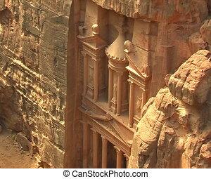 Facade of Treasury in Petra, Jordan.