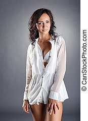 Image of seductive girl in unbuttoned blouse - Image of...