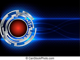 abstract circle technology and hex background - Silver...