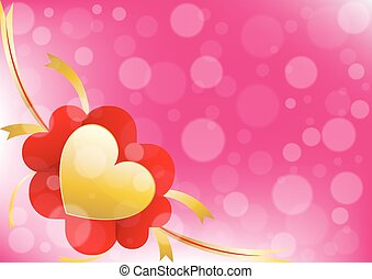 Vector hearts and ribbon on pink color background