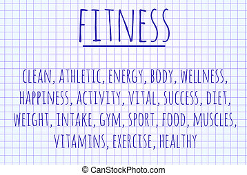 Fitness word cloud written on a piece of paper