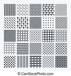 Geometric monochrome pattern set - Set of diverse geometric...