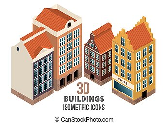 Building icons 3d vector