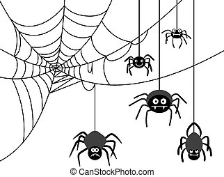 Spider on cobweb - Spiders weave a cobwebs. Dangerous...