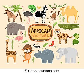 Vector african animals - Set of vector african animals...