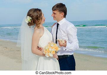 sposa, sposo, spiaggia, giovane