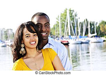 Happy couple outside