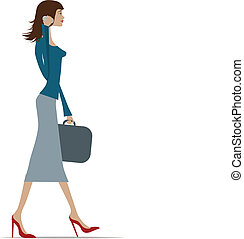 businesswoman in city - Illustration of a fashionable...
