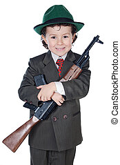 Boy with machine gun - Adorable boy in a suit with machine...