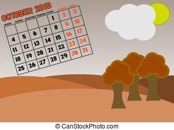 Calendar 2010 - October - 2010 monthly calendar - 10 of 12 -...