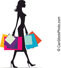 Woman shopping silhouette - Illustration of a fashionable...