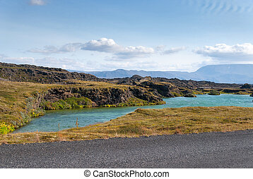 Myvatn lake on summer in Iceland