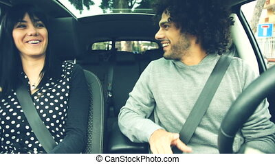 Couple first date in car
