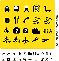 travel icon set on yellow - illustration set of various...