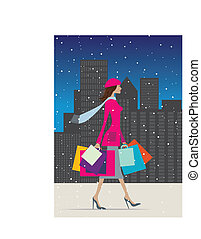 Shopping in winter - Illustration of a fashionable woman...