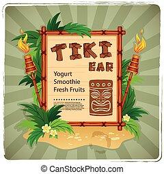 Retro Tiki bar sign - Vector Retro Tiki bar sign for your...