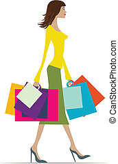 summer shopping - Illustration of a fashionable woman with...