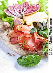 Italian cuisine Prosciutto, cheese, salami, herbs