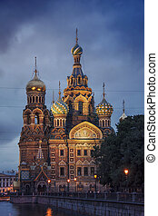 Church on Spilled Blood at night. Saint Petersburg. Russia
