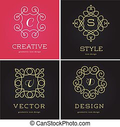 Collection of abstract geometrical icons, elements and...