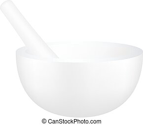 White mortar and pestle on white background