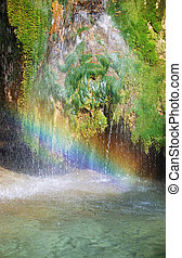 Rainbow on Lisine waterfall, tourist attraction in Serbia.
