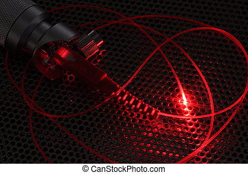 Red laser beam from fiber cable