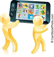 Mobile phone people illustration of two people carrying a...