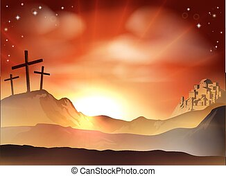 The Cross - Dramatic Christian Easter concept of Jesus and...